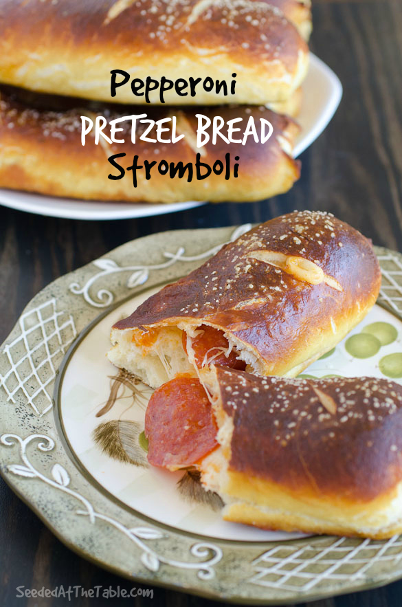 Pepperoni Pretzel Bread Stromboli by SeededAtTheTable.com @seededtable