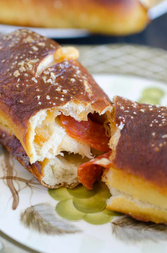 Pepperoni Pretzel Bread Stromboli by SeededAtTheTable.com