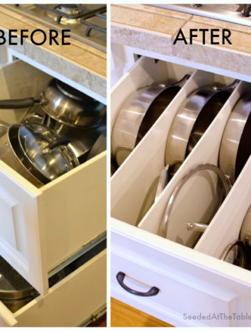 DIY Pots and Pans Drawer Organization by SeededAtTheTable.com @seededtable