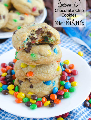 Coconut Oil Chocolate Chip Cookies with Mini M&Ms (No Butter!) by @SeededTable