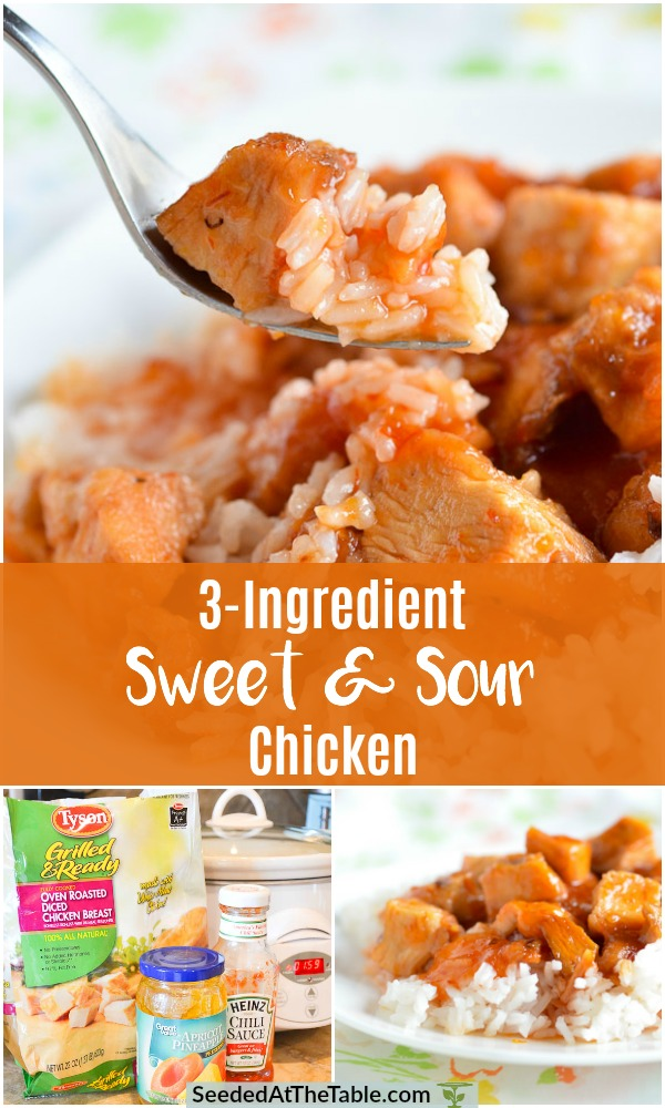 Collage of sweet and sour chicken over rice with ingredients on counter top.