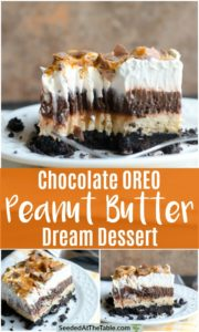 Collage of layered oreo dessert.