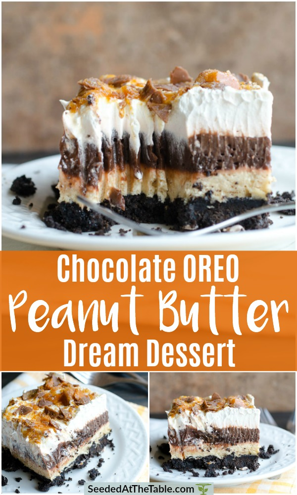 This is the BEST chocolate pudding Oreo dessert!  This Chocolate Oreo Peanut Butter Dream Dessert is an Oreo crust with layers of chocolate pudding and peanut butter cream cheese topped with whipped cream and crushed Butterfingers.