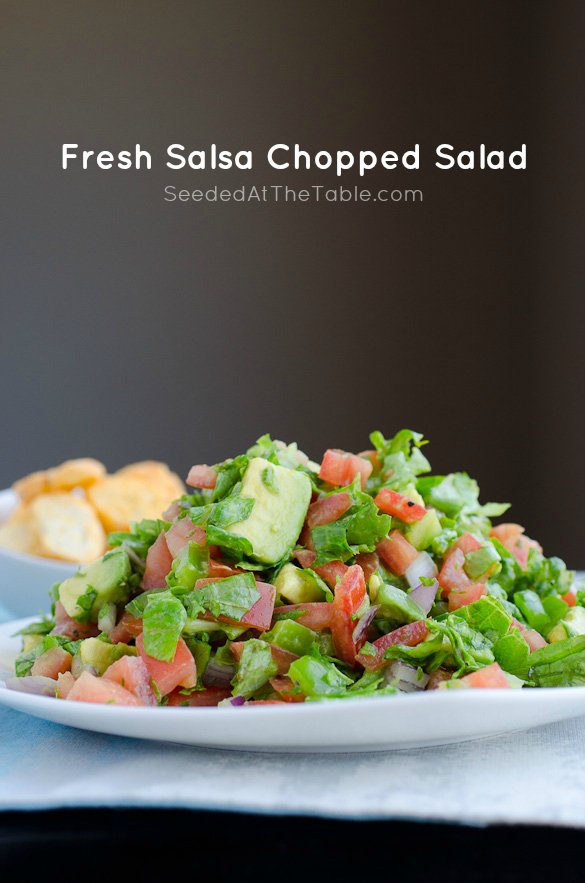Fresh Salsa Chopped Salad - tomato salsa combined with chopped lettuce and a lime juice dressing