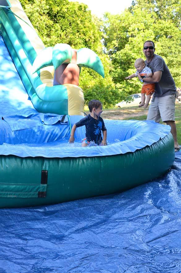 Livingston Farmers Market water slide.