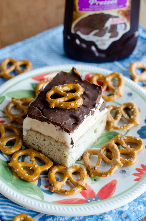 Caramel Banana Ice Cream Cake with Chocolate Pretzel Magic Shell