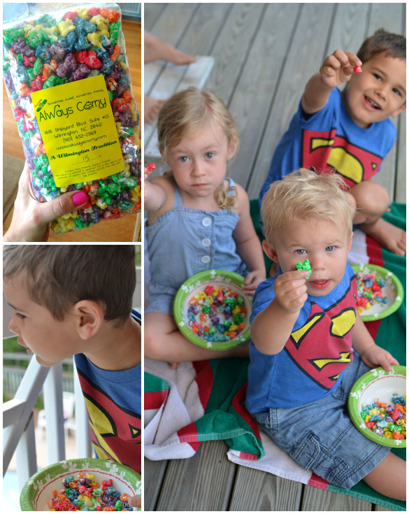 "Always Corny Popcorn found at Robert's Market, Wrightsville Beach, NC (I called it ""Rainbow"" popcorn to the kids)"