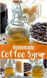 Collage of homemade coffee syrup.