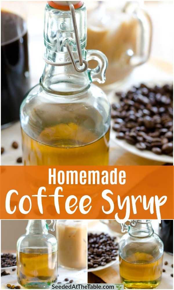 Mix together sugar and water in a sauce pan to make this simple coffee syrup that will store on your shelf for months.  Use it to sweeten your iced coffee beverage - or any cold drink - instead of table sugar so it blends nicely without needing to dissolve.