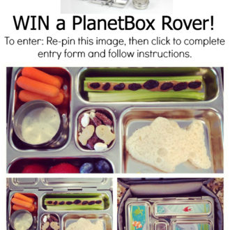 "Join us in our Pinterest contest to celebrate back to school lunches! Win your own PlanetBox! All you have to do is: 1. Re-pin this image and description, 2. Click this image to complete the giveaway widget, 3. Create a Pinterest board titled ""Lunch with PlanetBox"" and pin images that inspire you to create healthy lunches tagging #LunchWithPlanetBox in the description. Contest ends 8/26/14. Open to US residents only."