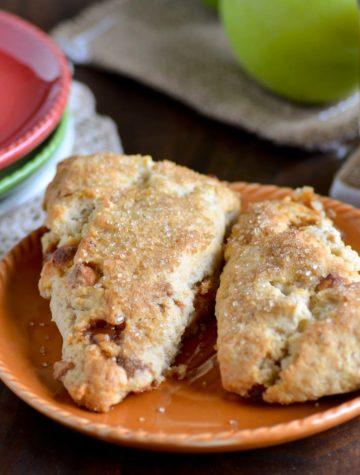 apple pie scones on a plate