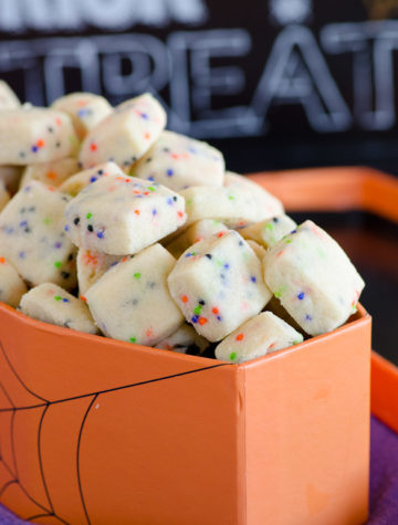 BOO! Bites - tiny shortbread cookies with Halloween sprinkles.