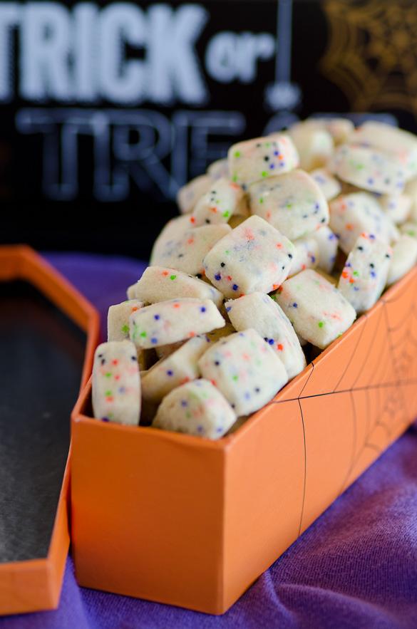BOO! Bites - tiny shortbread cookies with Halloween sprinkles.