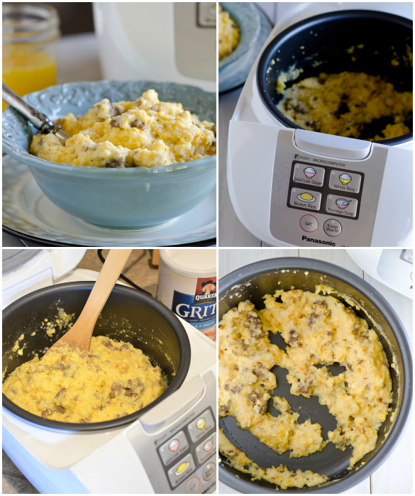 Rice Cooker Sausage and Grits Breakfast Casserole - An easy #RiseAndShine Breakfast in your rice cooker!