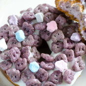 Boo Berry Donuts - using General Mills Monster Cereal collection and Pillsbury Grands! Blueberry Biscuits!