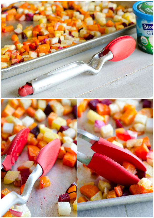 Candied Roasted Root Vegetable Parfait Collage - using Dreamfarm's Clongs