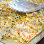 Chicken Rice Green Bean Casserole - Your meat, grains and greens all in one colorful dish!
