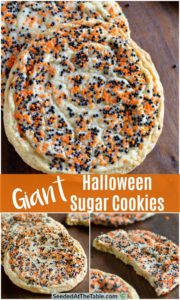 Collage of round sugar cookies with halloween sprinkles