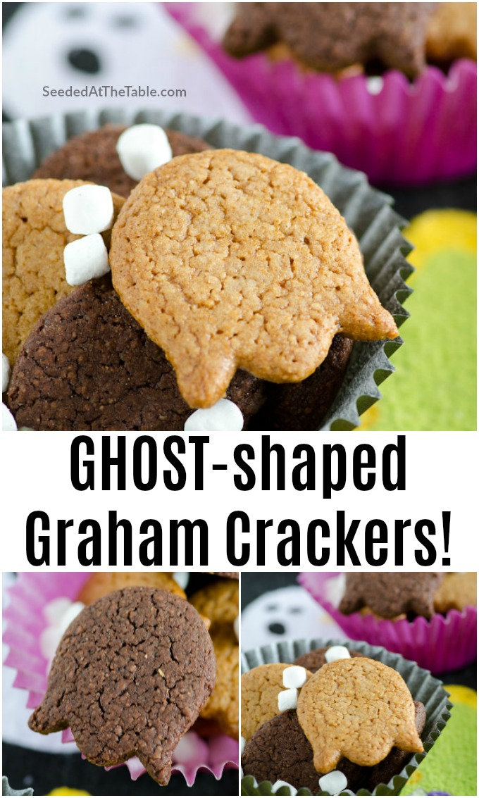 Spook your kids this Halloween with easy homemade graham crackers shaped like ghosts! This recipe is for both chocolate and regular graham crackers cut into ghost cookies with a tulip shaped cutter.
