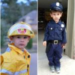 Halloween Costumes - Fireman and Policeman