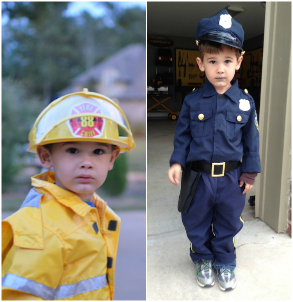 Halloween Costumes - Fireman and Policeman