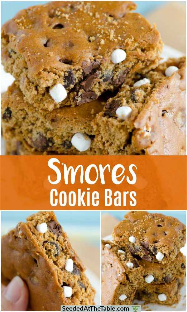 Collage of s'mores cookie bars.