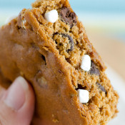 Smores Graham Cracker Cookies Bars - Graham cracker dough baked in a pan with the usual S'mores fixins.