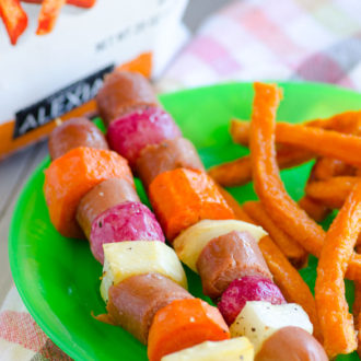 Roasted Root Vegetables and Hot Dog Skewers - Kid Friendly and Well-Balanced 30 Minute Meal Idea
