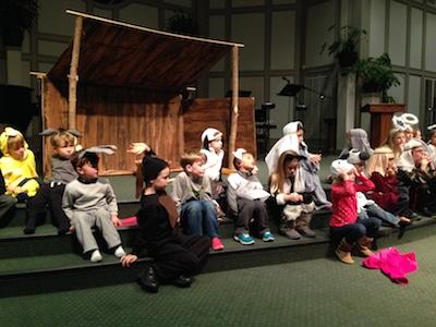 Christmas play rehearsal.