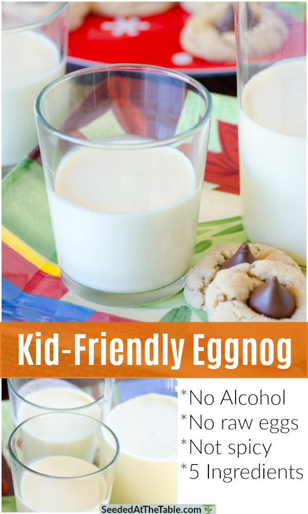 Kid-Friendly Eggnog does not include alcohol and no raw eggs.  This creamy eggnog recipe cooks the eggs and doesn't include alcohol, so your kids can safely enjoy it with you!