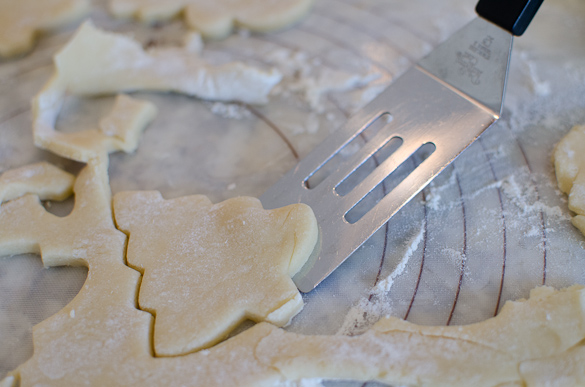 angled spatula to remove cut out cookie