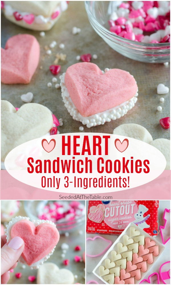 pinterest collage for heart sandwich cookies