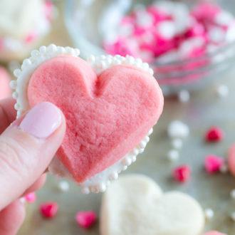 heart sandwich cookies with sprinkles