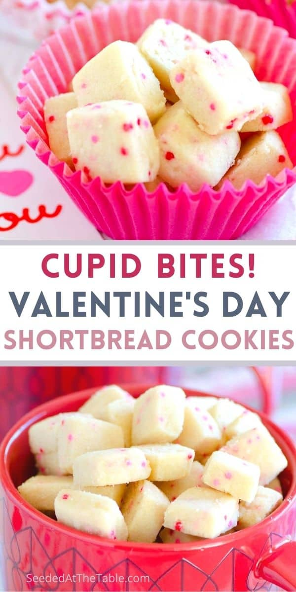 These tiny Valentine's shortbread cookies are perfect to gift for a Valentine's Day treat. We call them Cupid Bites because you'll easily fall in love with these munchies!