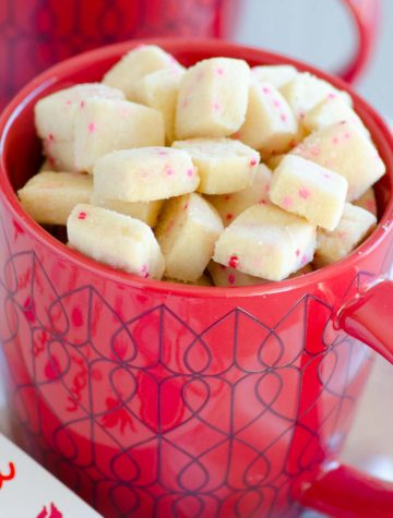 shortbread cookie bites in red mug