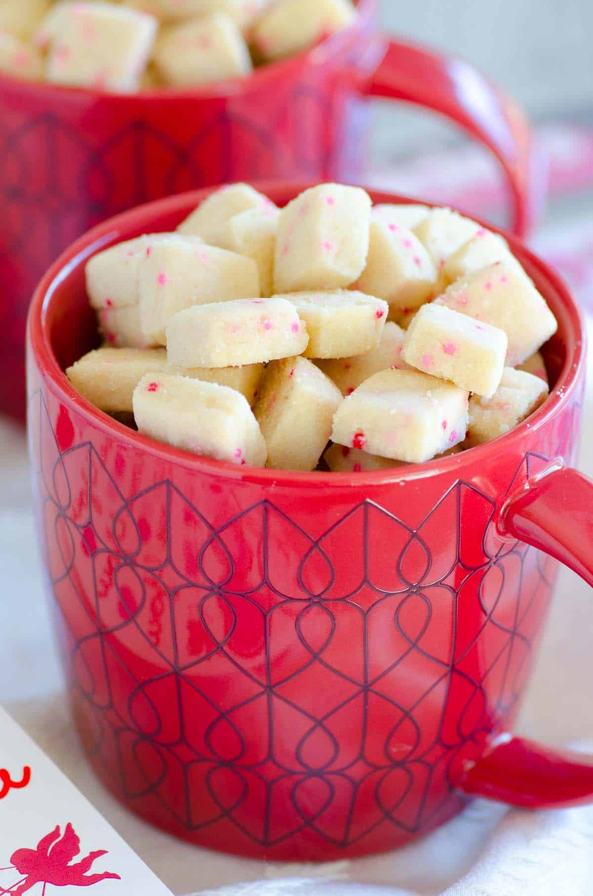 shortbread bites in a valentines mug