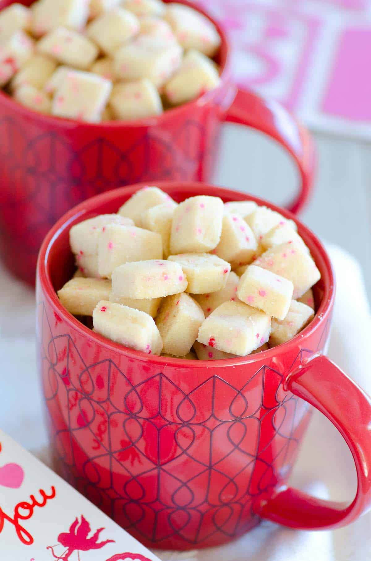 shortbread cookie bites in a red valentines coffee mug
