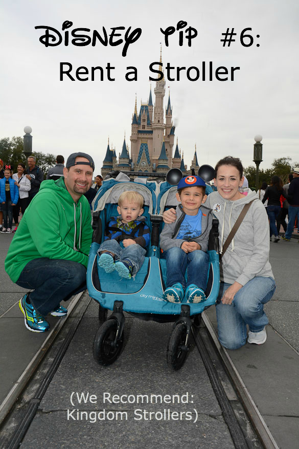 Title photo rent a stroller at Disney with Disney family picture.