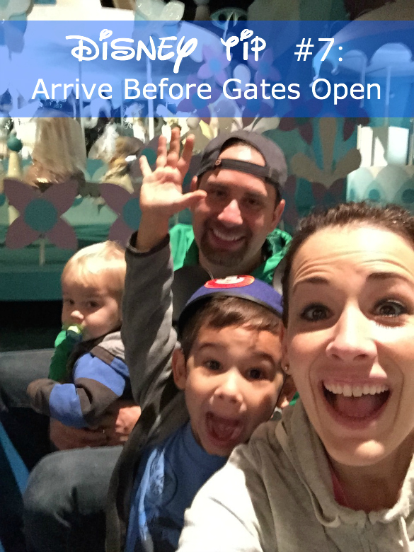 Disney tip to arrive before gates open pictured with Disney family.