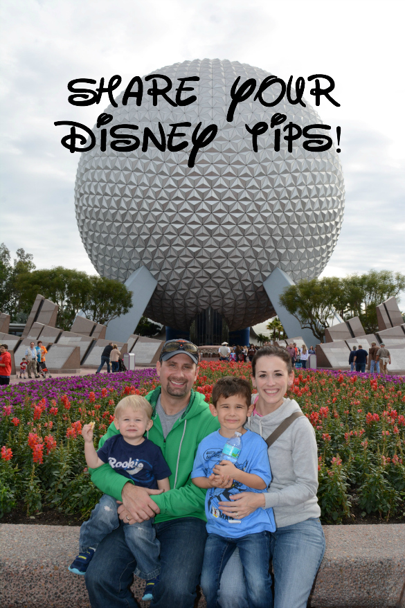 Text to share Disney tips and picture of Disney family in front of Epcot ball.