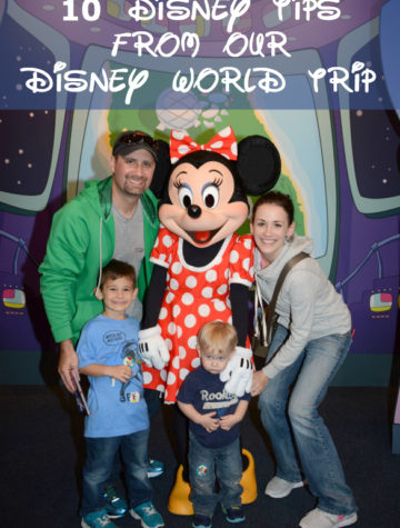 Title page for Disney Tips and photograph of Disney family with Minnie Mouse.