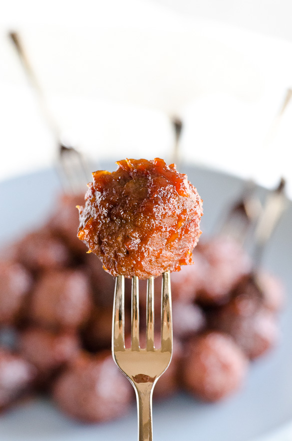 3-Ingredient Apricot Glazed Party Meatballs - slow cooker recipe