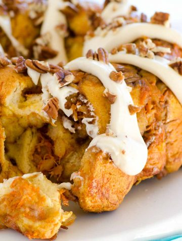 carrot cake monkey bread with cream cheese frosting