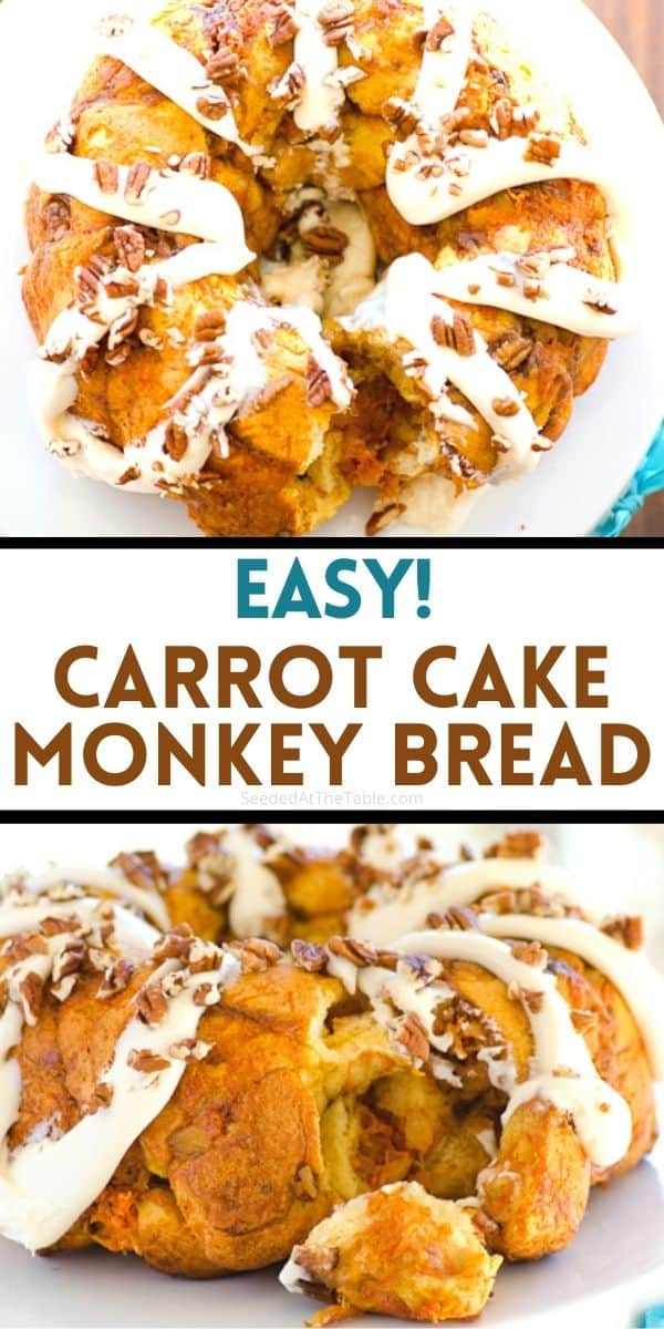 Try this easy carrot cake monkey bread for a tasty twist on the original. Shredded carrots, crushed pineapple and pecans are the stars of this show!