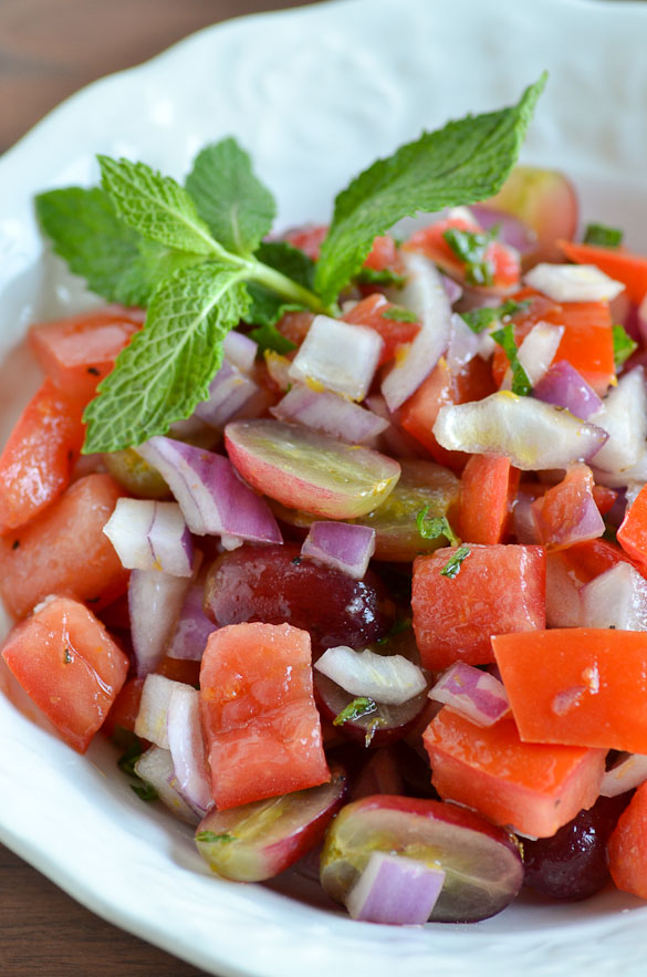 Refreshing Grape Mint Tomato Salad from Ally's Cookbook: A Passpor for Adventurous Palates