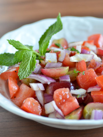 Refreshing Grape Mint Tomato Salad from Ally's Kitchen: A Passport for Adventurous Palates