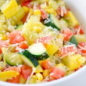 Skillet Parmesan Zucchini Tomato and Corn