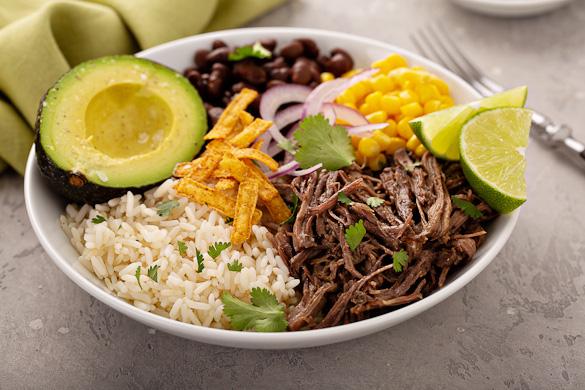 shredded beef taco bowl