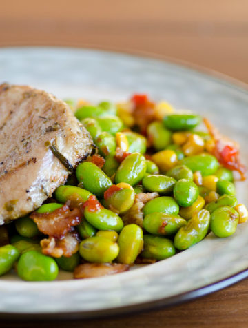 Bacon Edamame Succotash - An easy, healthy and FLAVORFUL side dish or a satisfying meal.