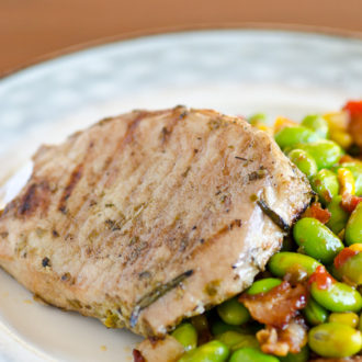 Garlic-Caper Rosemary Grilled Pork Chops